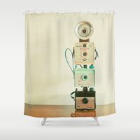 cameras Shower Curtains featuring Tower of Cameras by Cassia Beck
