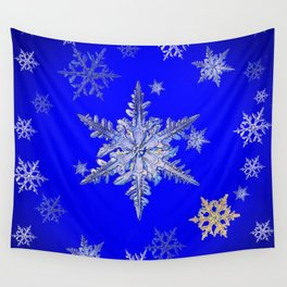 """MORE BLUE SNOW"" BLUE WINTER ART DESIGN Wall Tapestry"