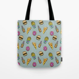 Fast Food Heaven Illustrated Pattern Tote Bag