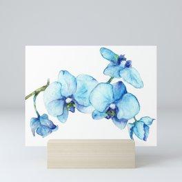Blue Orchids - Watercolor Botanical Art Mini Art Print