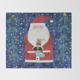 Santa with Stocking Throw Blanket