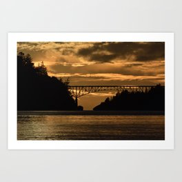 Deception Pass Bridge Sunset Art Print