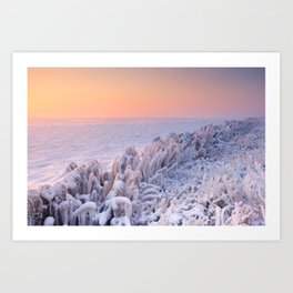 Sunrise over a frozen lake in The Netherlands Art Print