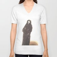 snape V-neck T-shirts featuring Snape portrait to remember his death RIP Alan Rickman by Drake Darklight