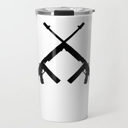 Crossed thompson submachine gun silhouette on transparent background Travel Mug