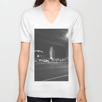 ferris wheel V-neck T-shirts featuring Fading Ferris Wheel by Jane Lacey Smith