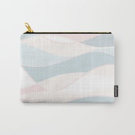 Summer Surf // Beach Waves Light Pastel Peach Blush Aqua Ocean Tides Vintage Surfing Vibes Carry-All Pouch
