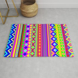 Aztec Psychedelic Chevron Pattern Rug