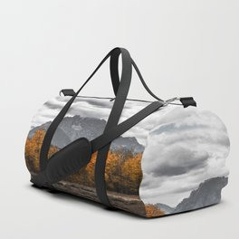 Teton Fall - Autumn Colors and Grand Tetons in Black and White Duffle Bag