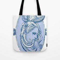 Octopus/girl in blue Tote Bag