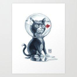 Fish & Cat Art Print