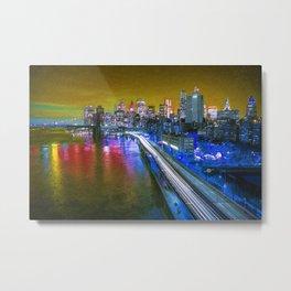 New York City Lights Gold Metal Print