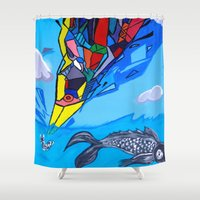transformer Shower Curtains featuring Trippy Transformer Bird Mixed Media Painting on Canvas by VibrationsArt