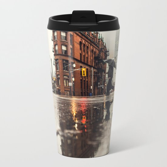 RAIN - WET - MAN - LIGHT - STREET - PHOTOGRAPHY Metal Travel Mug