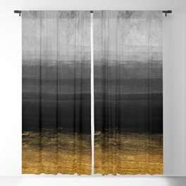 Black and Gold grunge stripes on modern grey concrete abstract background - Stripe -Striped Blackout Curtain