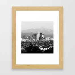 Los Angeles Downtown Skyline and Mountain Landscape - Square 1x1 Monochrome Framed Art Print