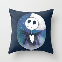 jack skellington Throw Pillows featuring Jack Skellington by MythicPhoenix