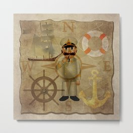 Captain, ship, rudder, anchor, lifebelt, map, compass, old map, messy, messy map Metal Print