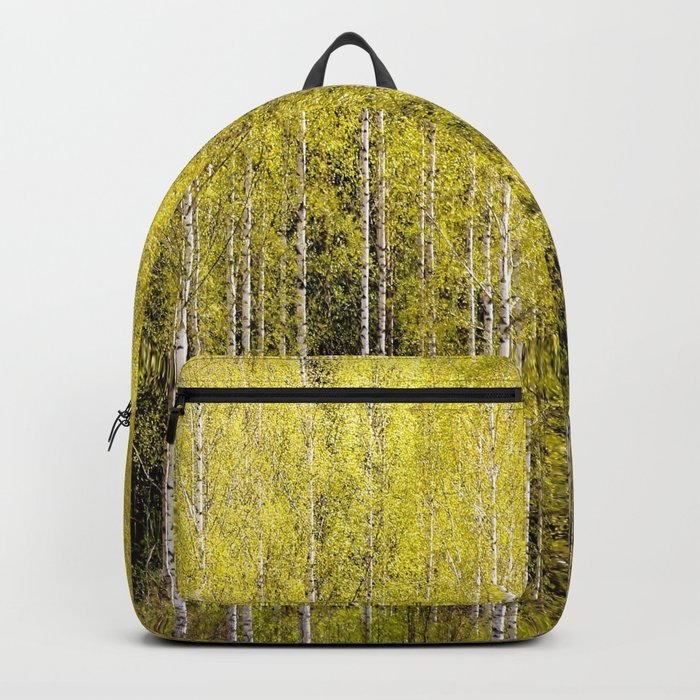 Lovely spring atmosphere - vibrant green leaves on the trees - beautiful birch grove Backpack