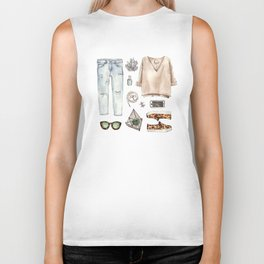 watercolor sketch. fashion outfit, casual style. Biker Tank