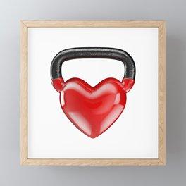 Kettlebell heart vinyl / 3D render of heavy heart shaped kettlebell Framed Mini Art Print