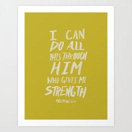 Philippians 4: 13 x Mustard Art Print