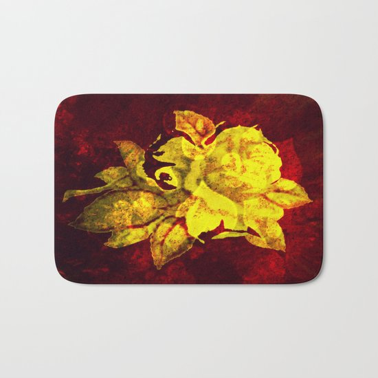 Yellow rose on dark red with hearts background Bath Mat