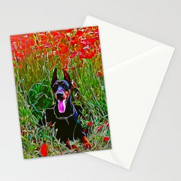doberman dog red flowers meadow vector art Stationery Cards