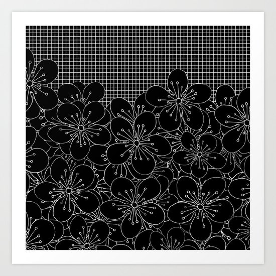 Cherry Blossom Grid Black Art Print