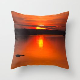 Autumn Sunset Orange Sky Lakescape #decor #society6 #buyart Throw Pillow