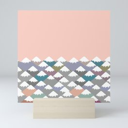 Nature background with Mountain landscape. Gray, pink, blue navy mountain with snow-capped peaks. Mini Art Print