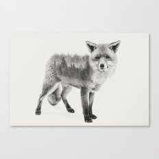 Fox Black and White Double Exposure Canvas Print