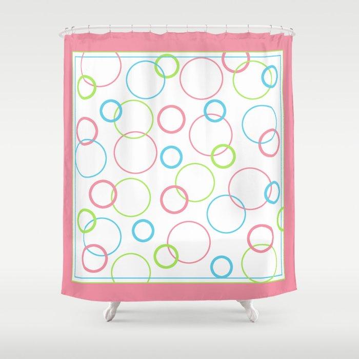 Geometric Design Circle Shapes Pink Blue Green Shower Curtain