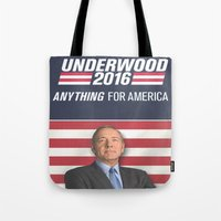 house of cards Tote Bags featuring House of Cards / Campaign Poster II by Earl of Grey
