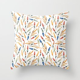 Watercolor seamless pattern with wheat sprouts and colored flowers Throw Pillow