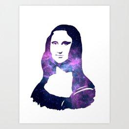 Mona Lisa Galactic Smile. Pantone Color of 2018: Ultra Violet Art Print
