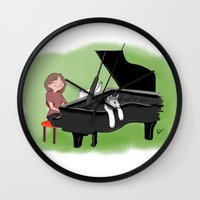 piano Wall Clocks featuring PIANO by Andrea Lacuesta Art