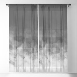 Ombre Black White Minimal Sheer Curtain