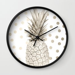 Gold Pineapple Polka Dots 1 Wall Clock