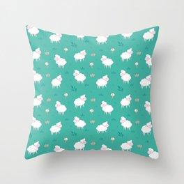 Calm sheep pattern Throw Pillow