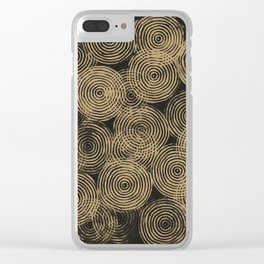 Radial Block Print in Charcoal and Gold Clear iPhone Case