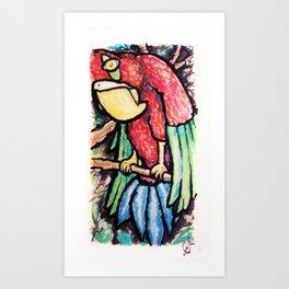 Curious Parrot Art Print
