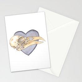 "Raven skull and Black Heart - ""My dark Valentine"" Painting Stationery Cards"