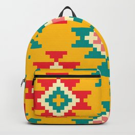 Yellow Patterned Stylish Native Aztec Backpack