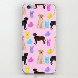 Labrador retriever dog breed peeps marshmallow treat easter spring dog gifts iPhone Skin
