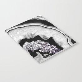 Gray Black White Agate with Purple Black Silver Glitter #1 #gem #decor #art #society6 Notebook