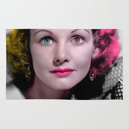 Pop Art Retro Actress Portrait Rug