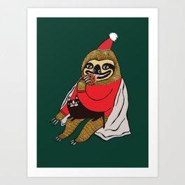 Christmas Sloth Art Print