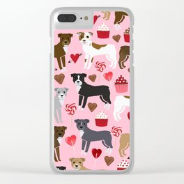 Pitbull dog breed love valentines day cupcakes hearts dog breeds pibble gifts Clear iPhone Case