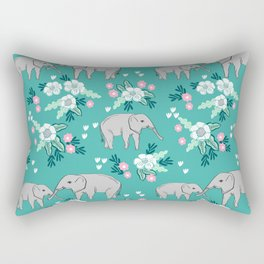 Elephants cute pattern florals good luck flowers and baby animals Rectangular Pillow
